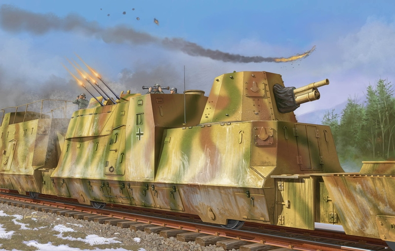 Nazi Armored Train in Action