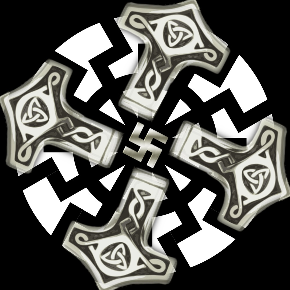 Mjolnir Black Sun and Swastika